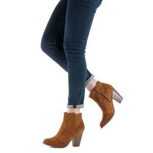 Tan Western Block Heel Ankle Bootie Boot Heather